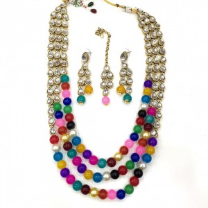 Necklace Set With Earrings & Maang Teeka Kundan Stone Gold Tone Multi Color Beads For Woman & Girls 09