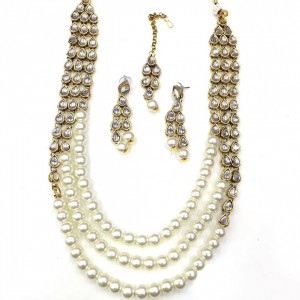 Necklace Set With Earrings & Maang Teeka Kundan Stone Gold Tone White Color Beads For Woman & Girls 06