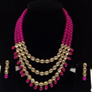 Rani Color Necklace Set With Earrings Kundan Stone For Woman & Girls