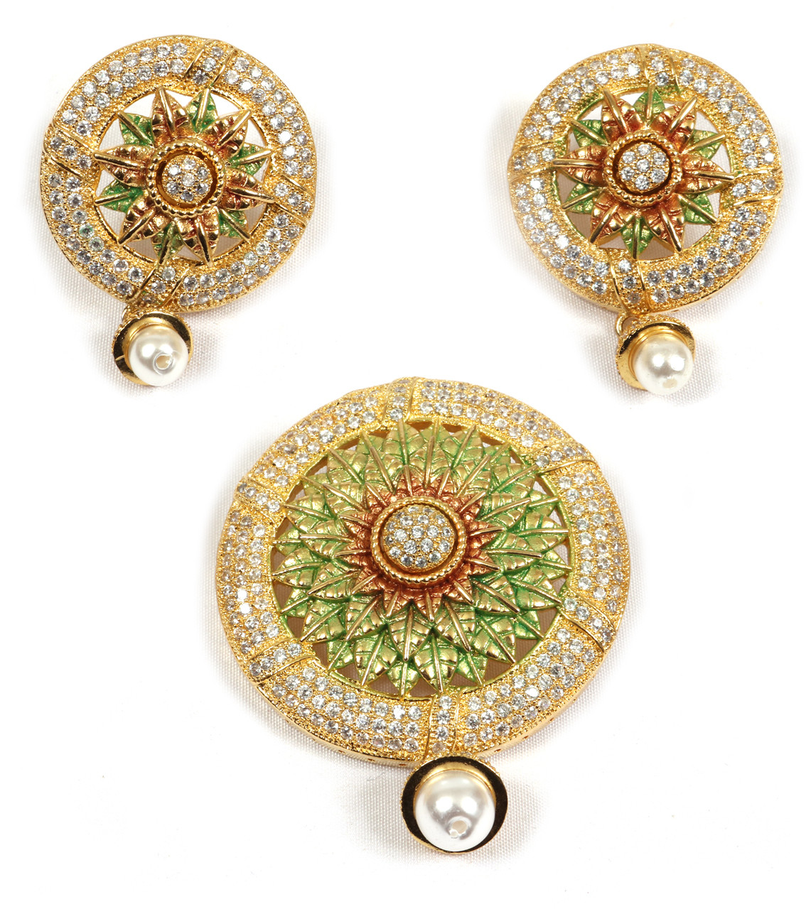 AD Desinger Pendant with Earrings Mayur