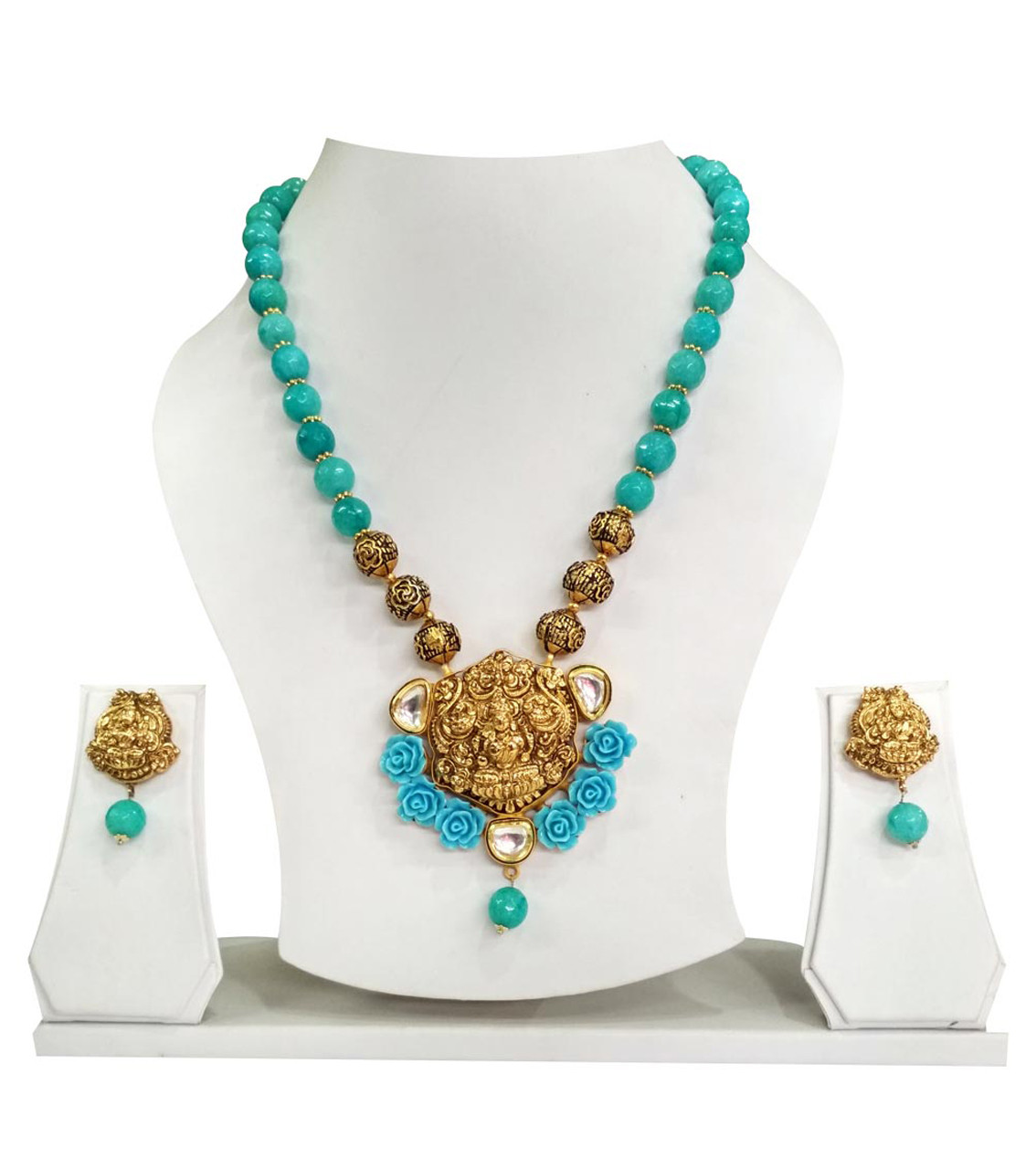 Temple Necklece Set Laxmi Firozi Color
