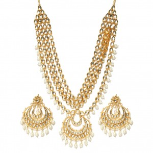 White Color Necklace Set Earrings Kundan Stone For Woman & Girls